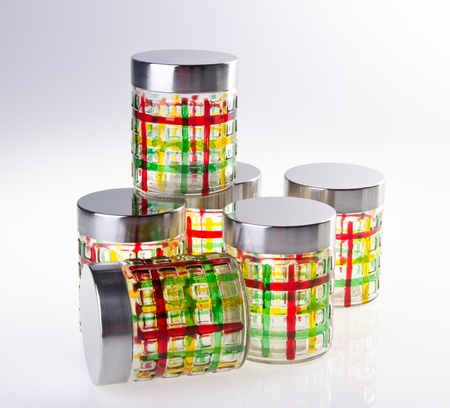 tupperware: food containers on white background