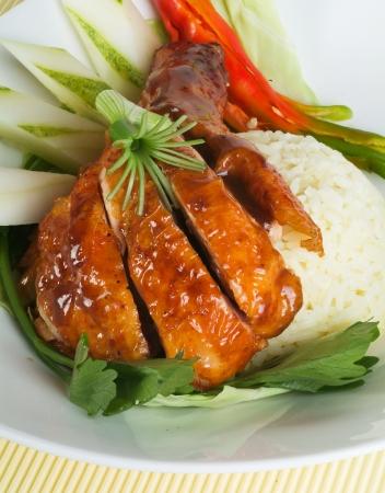 comida gourmet: Arroz de Pollo en el fondo, Asia Food Foto de archivo
