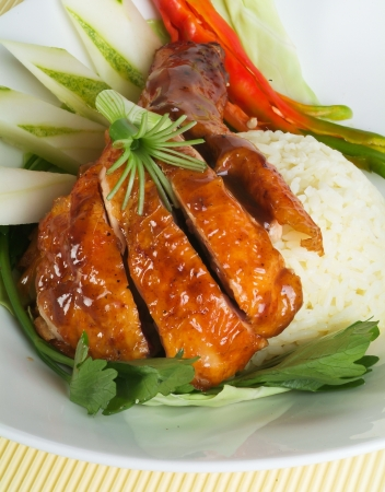 Chicken Rice on the background, asia food Stock Photo