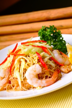 fried rice noodles with Seafood asia food photo