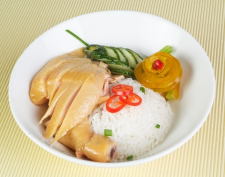chicken rice. Asian style hainan chicken rice closeup photo