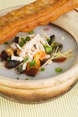 Porridge, Rice Porridge (congee) served in claypot photo