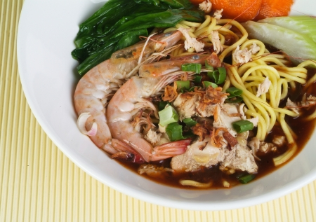 Prawn noodle - Malaysian food spicy noodles. photo