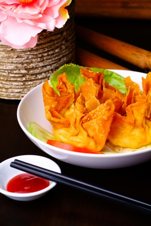Fried wantons on the background asia food photo