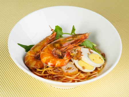 asian noodle: Prawn noodle - Malaysian food spicy noodles