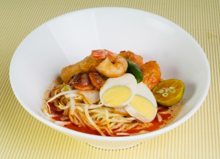 Curry Laksa which is a popular traditional spicy noodle soup from the Peranakan culture in Malaysia and Singapore Stock Photo - 14757113