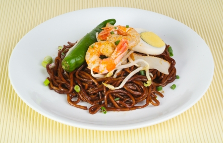 noodles. stir-fried noodles with chicken photo