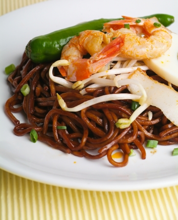 mee pok: noodles. stir-fried noodles with chicken Stock Photo