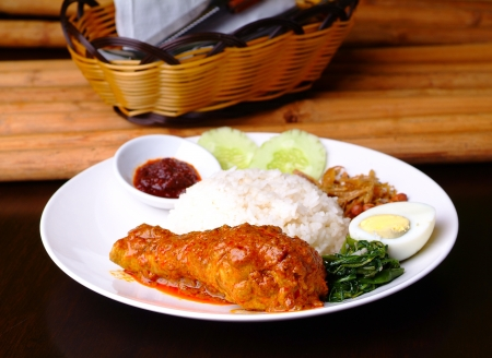 Nasi lemak traditional malaysian spicy rice dish Stock Photo - 14756391