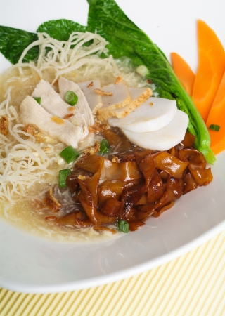 rice noodle on white background photo