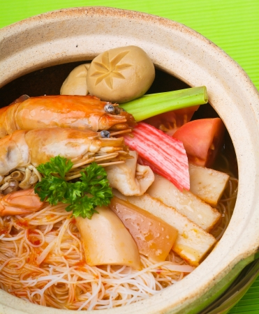 Rice Noodles sea food with Vegetables photo