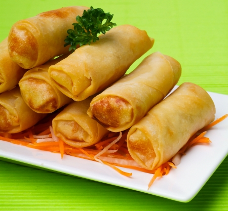 person appetizer: Spring Roll on the background Stock Photo