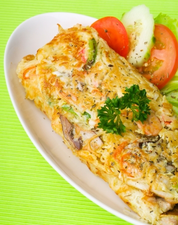 omelette with seafood, tasty omelette with seafood and mushroom