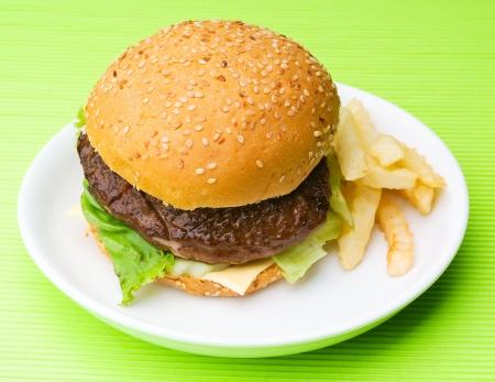 burger, hamburger on the background. photo