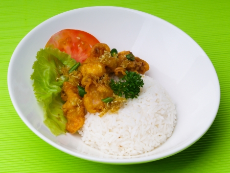 shrimp serve with rice asia food. photo