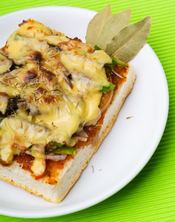 bread pizza topping on white background. photo