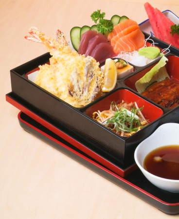 Japanese Bento Lunch set with background photo