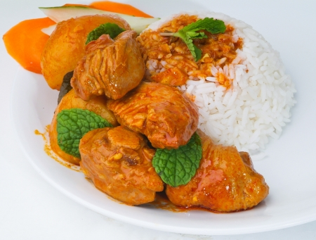 spicy chicken: Curry Chicken with rice malaysia food Stock Photo