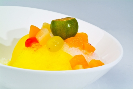 Shaved Ice dessert with Fresh fruits photo