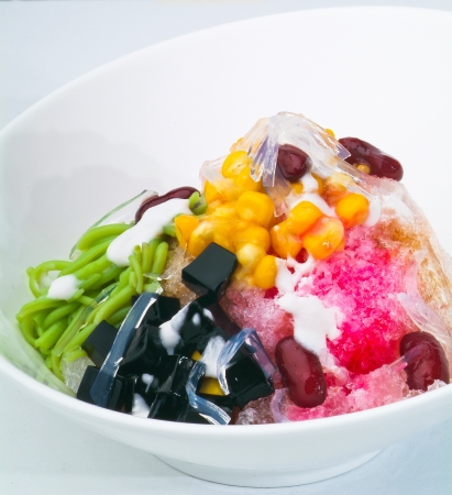 ice kacang, asian dessert of shaved ice with icecream Stock Photo