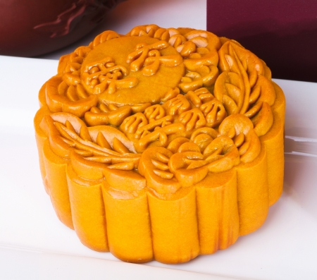Mooncake, the Chinese words on the mooncake is 'ingredient', not a logo or trademark. photo
