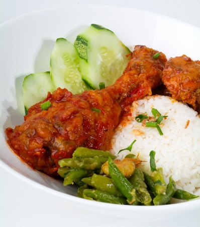 capon: Curry Chicken with rice malaysia food Stock Photo