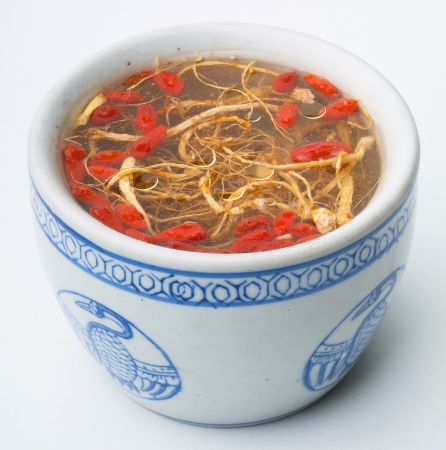 Chicken soup with ginseng, food asia photo