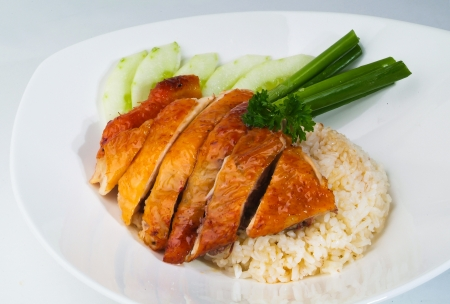 chicken chop: Chicken Rice on the background, asia food Stock Photo