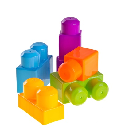 Plastic building blocks on a background photo
