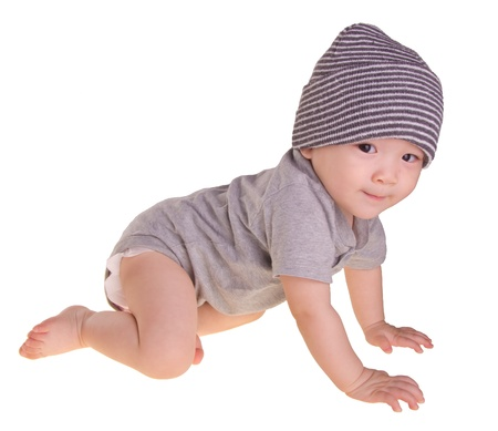 baby crawling: baby boy, bright picture of crawling asian baby boy