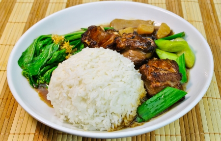 mutton: Mutton rice. chinese food Mutton rice Stock Photo