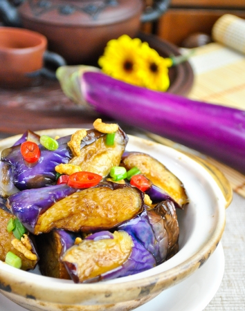Eggplant. Tasty and spicy Chinese style eggplant