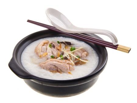 porridge: chicken Porridge (congee) served in claypot Stock Photo