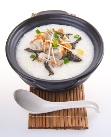 Porridge, pork Porridge (congee) served in claypot Stock Photo