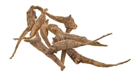 Dried Ginseng On Background photo