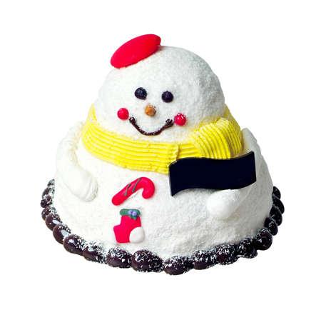 cake, Snowmen Christmas ice cream cake on background Stock Photo