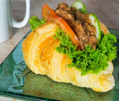 sandwich, croissant sandwich, fast food for breakfast or lunch