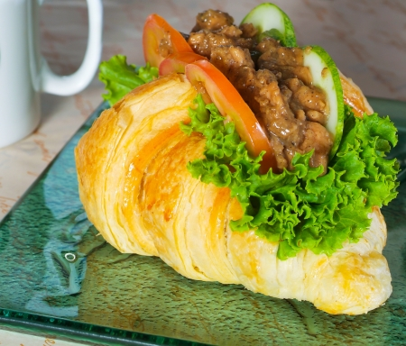 sandwich, croissant sandwich, fast food for breakfast or lunch Stock Photo - 15566077