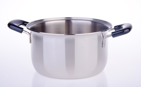 Stainless steel cooking pot isolated on white photo