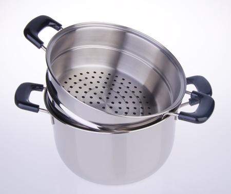stockpot: steamer pan on white background Stock Photo