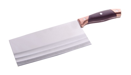 cleaver close up on white background photo