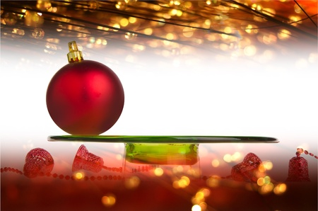 Christmas. Red Christmas balls on the background Stock Photo - 15761992