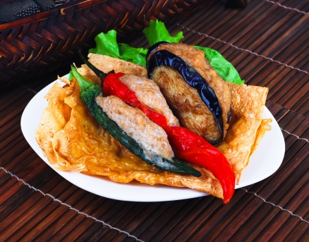 Yong Tau Fu. delicious Asian Chinese cuisine of fish paste stuffed