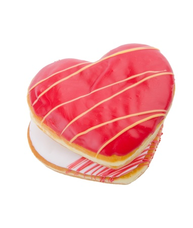 Donut, Heart Shaped Pastry on the background photo