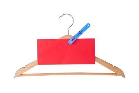 clotheshanger: hanger. coat hanger with tag on the background Stock Photo