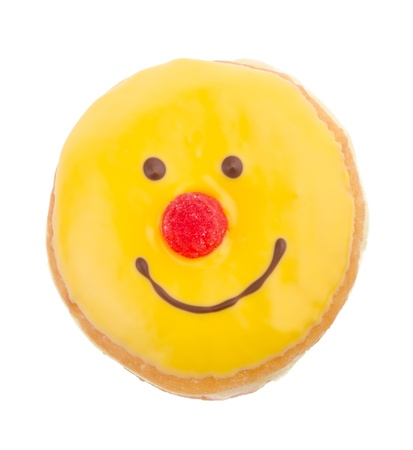 Donut, funny donut face on the background photo
