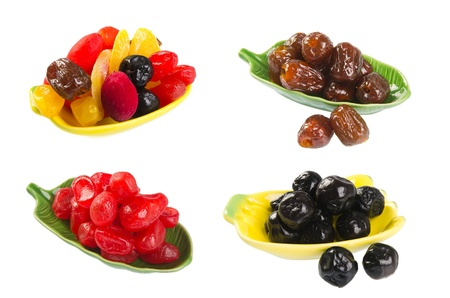 collection Dried fruit. dried fruits on background photo