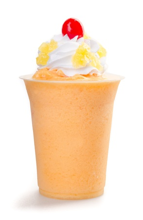 mango yogurt, milk shake isolated on white photo