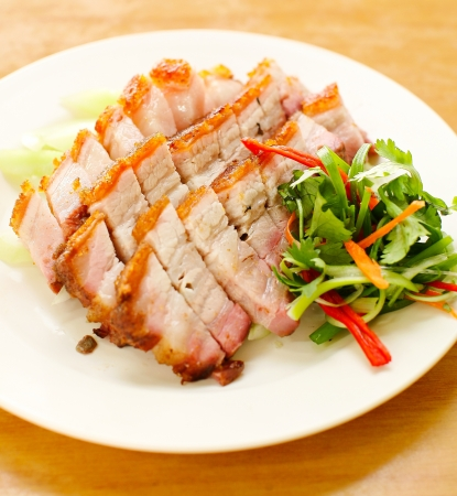 pork  BBQ Pork and Crispy Pork Stock Photo