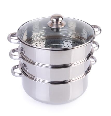 steamer pan on white background Stock Photo - 18289604